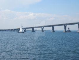 Sailboat, Bridge and Lighthous by DiamondLeaf