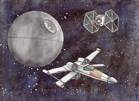Star Wars Watercolor fighter ships by Rvaya