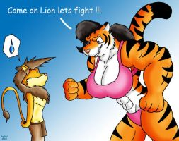 Lion VS Tiger by Big-Wolf