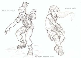 Sketchbook--Shikamaru + Neji by darkwater-pirate