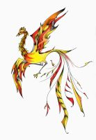 Fiery Crimson Phoenix by mallornleaf