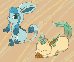 Glaceon and Leafeon by keicea