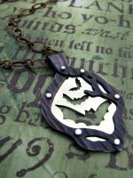 Bat Riveted Necklace by AbandonedMemory