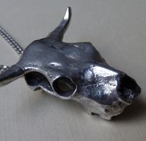 Bull Skull Necklace in Pewter by thepewterwolf