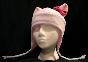 White and Pink Kitty with Bow by kittyhats