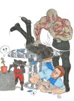 Over Drax's head across Peter's butt by Billby13