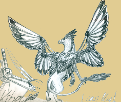 Kiheli concept drawing with steampunk wings by Nikalaine