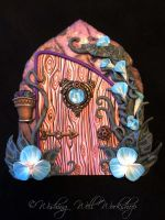 Polymer Clay Fairy Door Blue/Purple by missfinearts