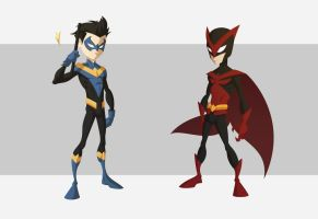 Nightwing and Red Bird by chrismunro