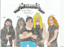 HA!: Dino Spumoni with Metallica (Re-draw) by metalheadrailfan