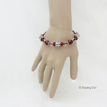 Red and Silver Plated Bracelet by BeadingOwl