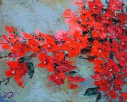 Bougainvillea on the wall. by herrerojulia