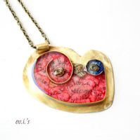 Brass Heart Necklace.Free Shipping by IoannaEvans