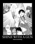 Shinji with gun by Onikage108