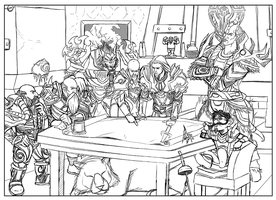 WoW: Council Sketch by mongrelmarie