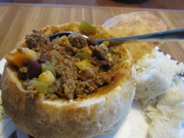 Chili in a bread bowl by maytel