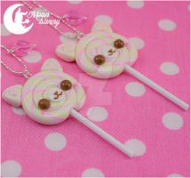 Lollipop cat Necklace by CuteMoonbunny