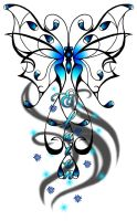 Blue Butterfly - Tattoo request by MangaX3me