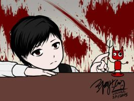 Lucius Playing With Devil Bobblehead GIF 2 by EdwardElricKun