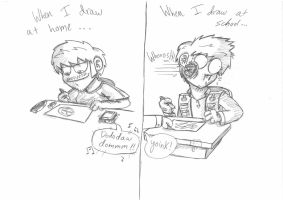 Drawing at Home VS Drawing at school by theINAshow