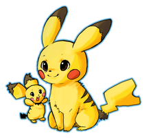 Pichu and Pikachu by AstaCelsia