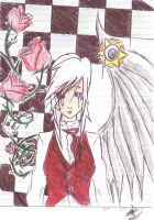 white,roses,mad by NecroP