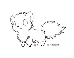Chibi Wolf Lineart by MS-Paint-Friendly