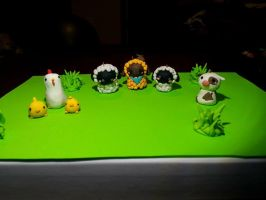 Clay Sheep Cow Chickens by isparklehearts