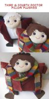 Third and Fourth Doctor Pillow Plushies by orinocou
