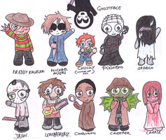 Horror Killer Chibis by Cheetana