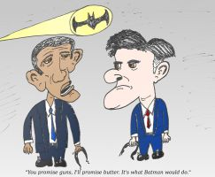 Obama Romney and Batman fighters for America by optionsclickblogart