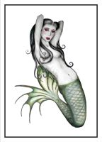 Pin-up mermaid by melancholy-spiders