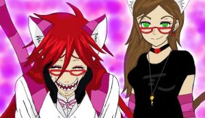 Melanie and Grell in Wonderland by thebobsquadlol