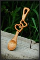 Two Hearts Lovespoon by pagan-art