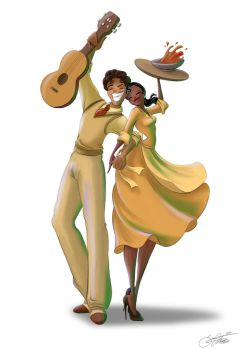 Tiana and Naveen by SilverCatseyes