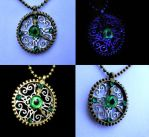 Elegant Green Bronze and Silver Clock Gear Pendant by LadyPirotessa
