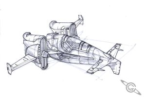 Lunar Fighter Sketch by MeckanicalMind