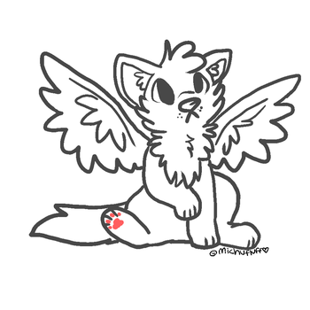 Winged wolf lineart! by Squirrelings