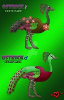 Ostrick - Grass Dark Fakemon Starter by JamalPokemon