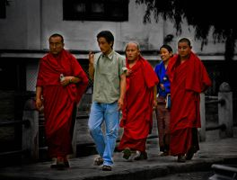 Monks in Thiumphu by insigma00