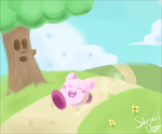 Kirby Runs by SolarPaintDragon