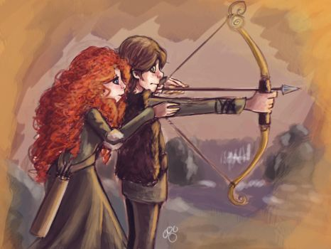 Merida and Hiccup by pandatails