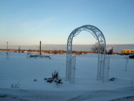 Snow Covered Peace Garden by meggyweggy