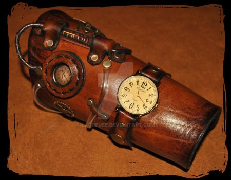 steampunk leather bracer with watch by Lagueuse