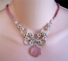 Necklace: Pink Stone by Bright-Circle
