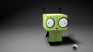 Papercraft GIR 3D Wallpaper HD by FluffyBlueCow