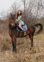Kristina riding on horses by Hudojnica