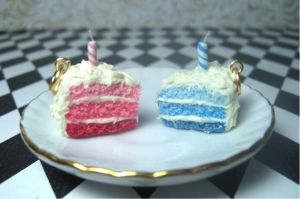 UNbirthday cake slice charms by rottingteeth