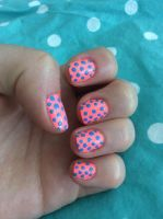 Coral and Blue Polka Dot Nails by AnonymousRabbitLover