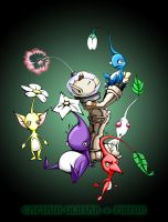 olimar + pikmin with bg by pnutink